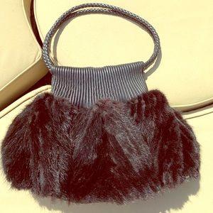 Paola Masi mink & leather purse ❤️